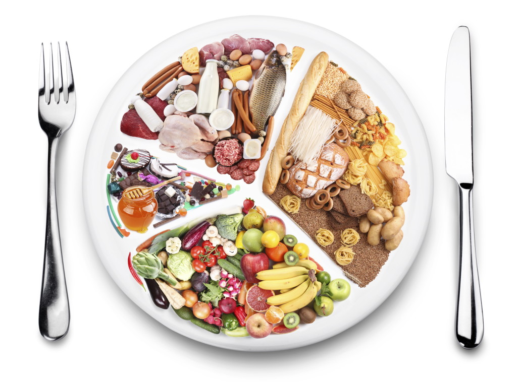 Food balance products on a plate.